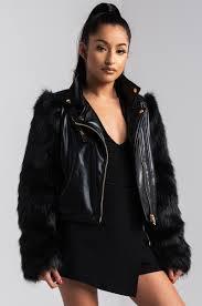 front view daring deeds moto jacket in black