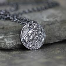 lion head pendant rustic necklace mens jewellery