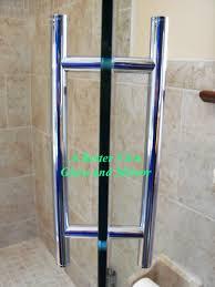 luxury polished chrome basck to back ladder frameless shower glass door pull