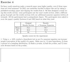 exercise 4 do fancy math equations make a research paper seem higher quality even if