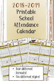 Absentee Calendar Free 2018 2019 Printable School Attendance Calendar Record Wonder