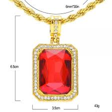 men s trendy iced out hip hop pendant necklace jewelry gold color red big square stone pendant with thick rope chain necklace