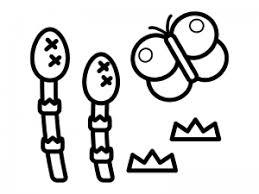 春つくしと蝶々のぬりえ線画イラスト素材02 イラスト無料