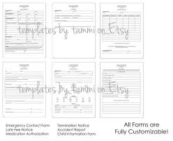 Daycare Form Enchanting Daycare Form Pack Daycare Records Daycare Forms Editable Etsy