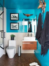 modern small bathroom with bold teal walls floating vanity and animal wall decor