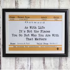 train ticket not places but people that matter forever personalised framed poster