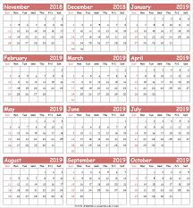 November Through November Calendars Blank Twelve Months 2018 November To 2019 October Calendar Printable