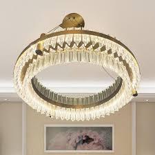 european chandelier light luxury simple living room chandelier stairs led glass light ring led living room lamp multi light pendant brass ceiling lights