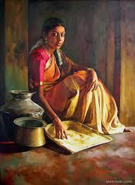 realistic tamilnadu paintings by ilayaraja realistic tamil woman painting