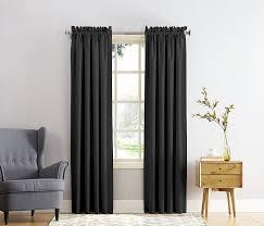 com sun zero barrow energy efficient rod pocket curtain panel 54 x 84 black home kitchen