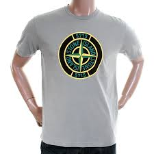 Designer Brand With Compass Logo Stone Island Mens Grey 561520181 Compass Logo Tee Shirt Si2114