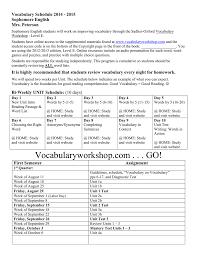 Word Test 3 Vocabulary Schedule 2014 2015 Sophomore