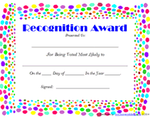 Most Likely To Award Template Blank Most Likely To Recognition Award Certificates Templates