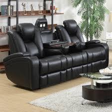 black leather reclining sofa.  Reclining Black Leather Power Reclining Sofa For E