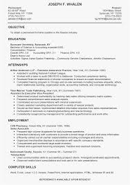 Accounting Intern Resume Examples New Resume Sample For College