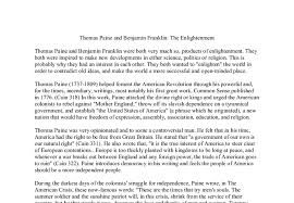thomas paine and benjamin franklin the enlightenment a level  document image preview