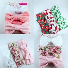 <b>3pcs Newborn</b> Headband Cotton Elastic <b>Baby</b> Print Floral Hair Band ...
