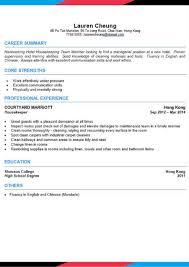 Cv Templates Room Attendant Asiahospitalitycareers Com