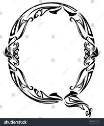 Art Nouveau style vintage font - letter Q black and white outline