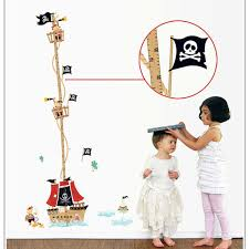 Child Growth Chart Us 4 92 Creative Ocean Pirate Ship Child Growth Measurement Height Wall Stickers Baby Room Decoration Height Growth Chart Stick On Wall In Wall
