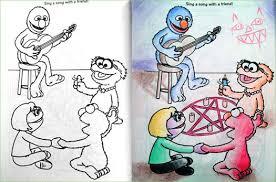 coloring book corruption satan elmo