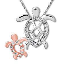 large view diamond turtle necklace
