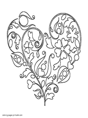 Small Picture Coloring Page Heart Coloring Pages Printable Coloring Page and