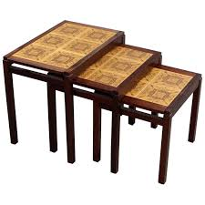 Nesting furniture Stackable Set Of Three Rosewood And Ceramic Tile Danish Modern Nesting Tables For Sale Danish Furniture Manufacturer 1stdibs Set Of Three Rosewood And Ceramic Tile Danish Modern Nesting Tables