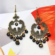 black beaded bronze plating elegant antique model chandelier earrings