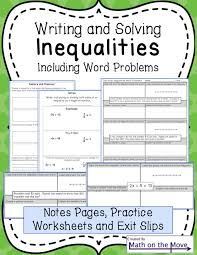 algebra worksheets inequality word problems write and solve by math maker