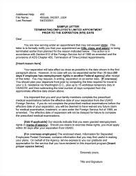 Sample Letter Terminating Employees Limited Appointment Prior To