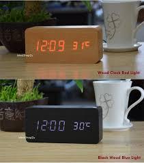 led wood digital clock wooden alarm time date temperature usb jam meja