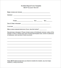 Free Incident Report Form Printable Guve Securid Co