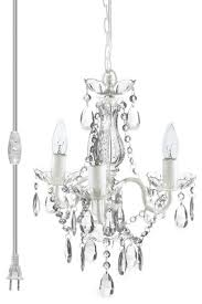 color 3 light mini plug in crystal chandelier white metal frame refer to 3 light