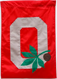 ohio state block o leaf nut garden flag