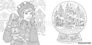 Coloring Pages With Winter Girl And Magic Snow Ball Buy This Stock