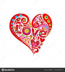 Imprimer Avec En Forme De C Ur Rouge Abstrait Et Amour Mot Image