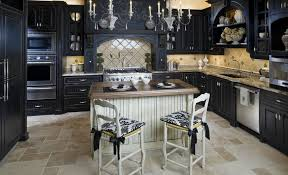 black cabinets with white island