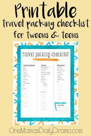 Printable Travel Packing Checklist For Tweens Teens