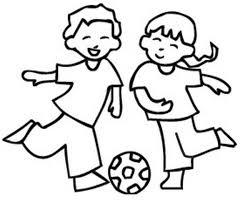 Bambino E Bambina Che Giocano A Calcio Da Stampare E Da Colorare