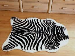 plush black and white faux zebra skin rug from france 3 x 5