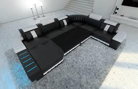 Details Zu Ecksofa Ledercouch Sofa Bellagio Xxl Wohnlandschaft Leder Luxus Couch Grau Led
