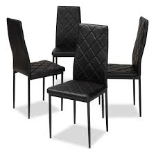 baxton studio blaise black faux leather upholstered dining chair set of 4 146 4pc 8781 hd the home depot
