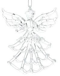 clear spun glass angel holding candle ornament ornaments uk