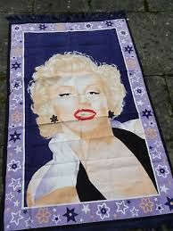 4 6ft marilyn monroe vintage 1980s 100 cotton wall hanging rug throw navy blue