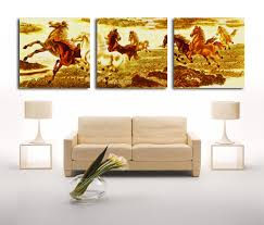 Cheap Horse Posters Bpago 3 Panels Animal Drawings Running Horse Posters And