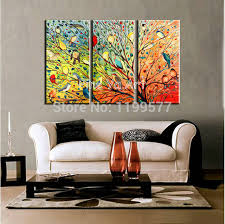 piece multi abstract wall art for living room canvas modern hand painted colorful tree oil home