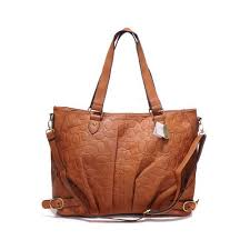Coach Embossed In Monogram Large Tan Satchels DGF