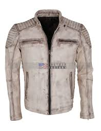 vintage white grey waxed genuine leather mens jacket
