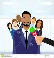 businessmen leader give interview tv microphone stock vector businessmen leader give interview tv microphone